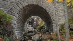 Waterfall Bridge in Autumn, Acadia National Park Stock Footage
