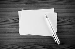 Pen with paper black and white color tone style Stock Photos