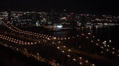 Aerial New Orleans Bridge Night Stock Footage