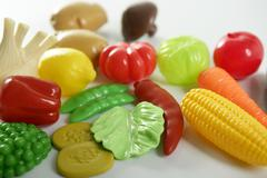 Stock Photo of Plastic game, fake varied vegetables and fruits