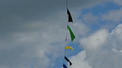 Color banners hanging on the string Stock Footage