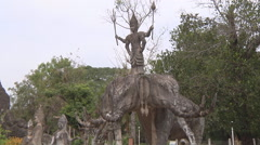 Statue in Buddha Park near Vientiane, Laos Stock Footage