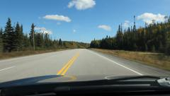 Driving with blue sky and fluffy white clouds. Northern Ontario, Canada. Stock Footage