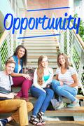 Stock Photo of Opportunity against smiling students sitting on steps