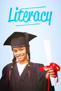 Literacy against blue vignette background Stock Photos