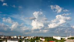 Time lapse of blue sky with clouds over Bangkok city, Thailand, 4K Stock Footage