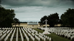 Memorial crosses at a soldier cemetery in France Stock Footage