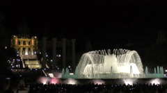 Plaza Espanya Barcelona Magic Fountain in Front of The Museum of National Art Stock Footage
