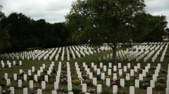 Memorial crosses at a war cemetery in France Stock Footage