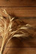 Ear golden wheat spike over wooden background - stock photo