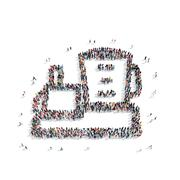 group  people  shape  mixer - stock illustration