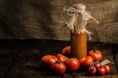 Homemade ketchup from tomatoes grown in organic garden Stock Photos