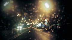 Police officer stops the car in rainy weather. Stock Footage