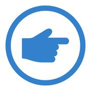 Index Finger flat cobalt color rounded vector icon - stock illustration