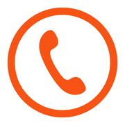 Phone flat orange color rounded vector icon - stock illustration