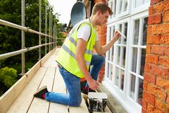 Decorator On Scaffolding Painting Exterior House Windows Kuvituskuvat