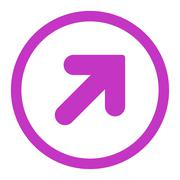 Stock Illustration of Arrow Up Right flat violet color rounded vector icon