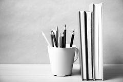 Stand up book with color pencil black and white color tone style Stock Photos