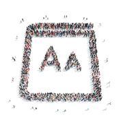 group  people  shape sheet - stock illustration