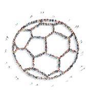 People  shape  soccer ball sports cartoon Stock Illustration