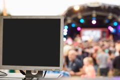 Sound and lighting equipment at an outdoor festival concert - stock photo