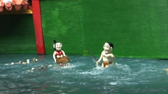 Vietnam Water puppet show in Saigon Stock Footage