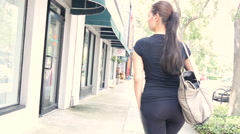 Sexy walk hipster woman walking and shopping 1080P Stock Footage