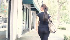 Sexy walk hipster girl walking and shopping Stock Footage