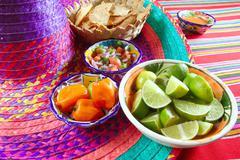 Mexican sauces pico de gallo habanero chili sauce - stock photo
