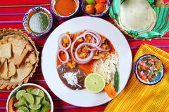 fajitas mexican food with rice frijoles chili sauce - stock photo