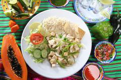 chicken mojo de ajo garlic sauce mexican chili sauces - stock photo