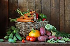 Vegetables in a basket. - stock photo