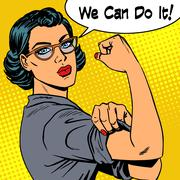 Woman with glasses we can do it the power of feminism Stock Illustration