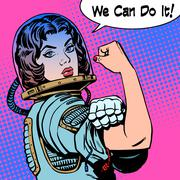 Woman astronaut we can do it the power of protest Stock Illustration
