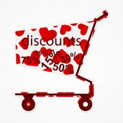 Label discount shopping cart with hearts. Modern design element. Stock Illustration
