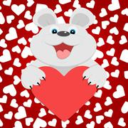 Teddy bear with red heart. Vector illustration. Stock Illustration