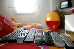 many remote control for only one house - stock photo