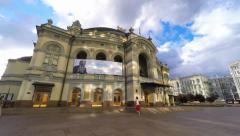 Kyiv, Ukraine,19.08.2015, 4K timelapse, The National opera of Ukraine at sunny Stock Footage