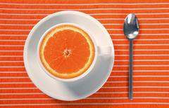 Healthy breakfast cup of orange instead caffeine Stock Photos