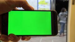 4K Hd Ultra, Close Up of Green Screen phone , Man Using Smartphone In Subway-Dan Stock Footage