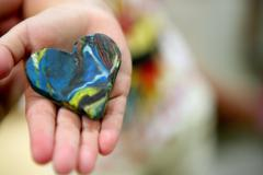 Plasticine brown and blue abstract heart Stock Photos