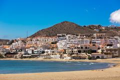 Seaside village in Andalusia at seaside, Cabo de Gata, Spain Stock Photos