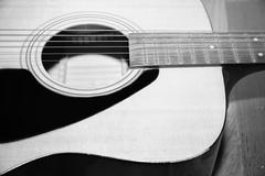 still life part of guitar black and white color tone style - stock photo