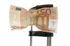 Euro bank note under pressure Stock Photos