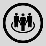 Stock Illustration of Society flat black color rounded vector icon