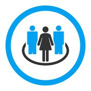 Society flat blue and gray colors rounded vector icon - stock illustration