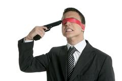 Red tape blindfold businessman gun suicide Stock Photos