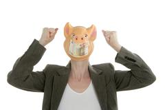 Woman with swine face, Euro note mask - stock photo