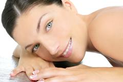 Beautiful clean cosmetics woman  close up portrait - stock photo