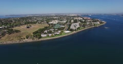 Aerial. A wide view of the coast of San Diego. Tennis court. Stock Footage